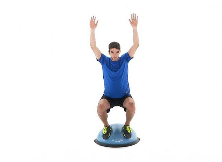 BOSU Ball Squat exercise. Image Copyright © Physiotec