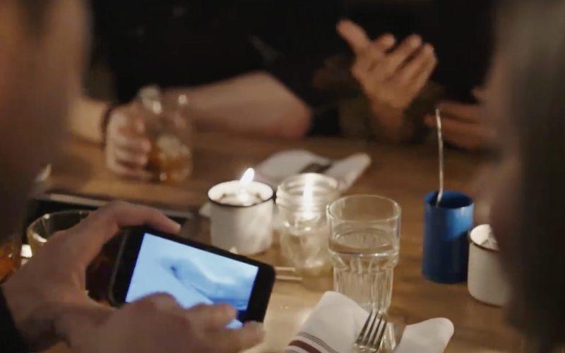 Cellphone at Banff restaurant