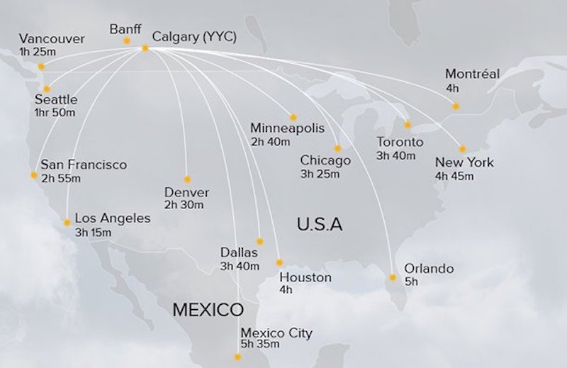 Map of direct flights from North American airports to Calgary (YYC)