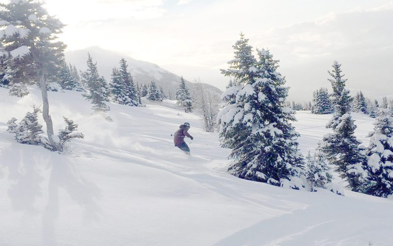 First tracks down the Front Side of Lake Louise Ski Resort on opening day, November 18, 2016. Image by Luke Sudermann.
