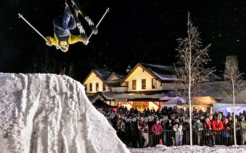 Watch ski and snowboard pros up close as they stomp out their tricks at the Big Bear. Photo: Banff & Lake Louise Tourism.