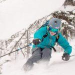 Noah Maisonette skis powder at Lake Louise Ski Resort on December 28, 2016. Photo: Luke Sudermann.