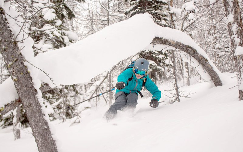 Stay warmer while skiing by opting for a more challenging gladed run. Photo by Luke Sudermann at Lake Louise Ski Resort on December 28, 2016.