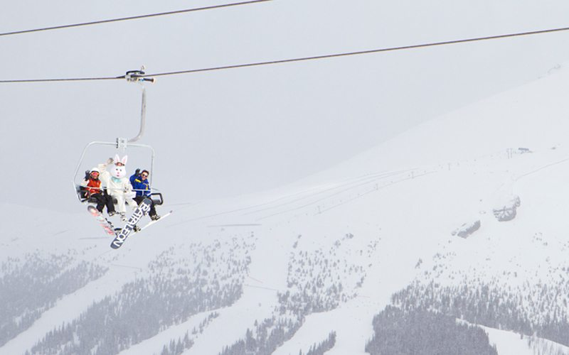 Catch the Easter Bunny on the slopes this Easter long weekend. Photo: Banff Sunshine Village.