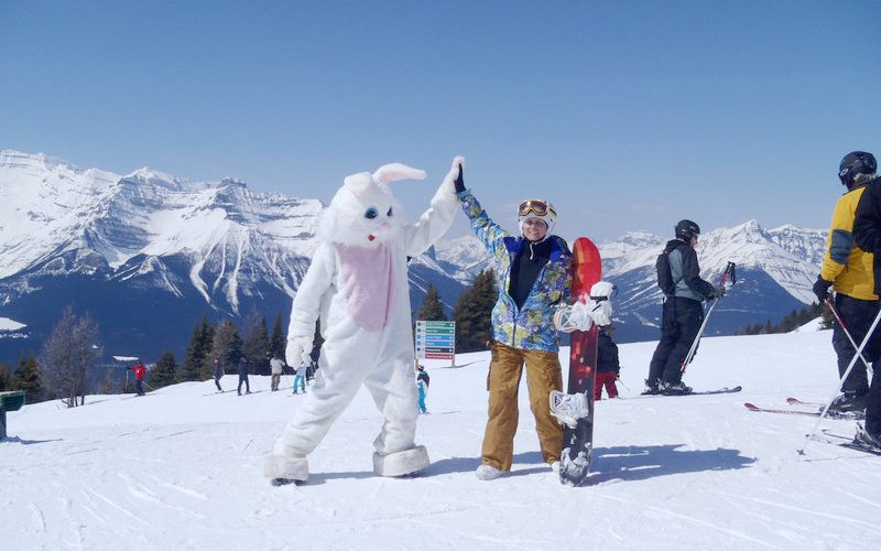Catch the Easter Bunny on the slopes this Easter long weekend. Photo: Lake Louise Ski Resort.