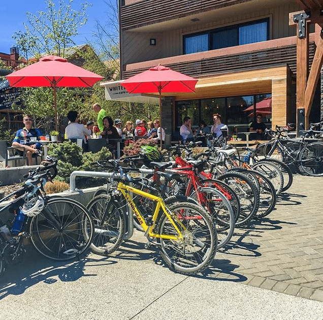 Summer bike scene at the Whitebark Cafe. Photo on Instagram by @lwoolstencroft