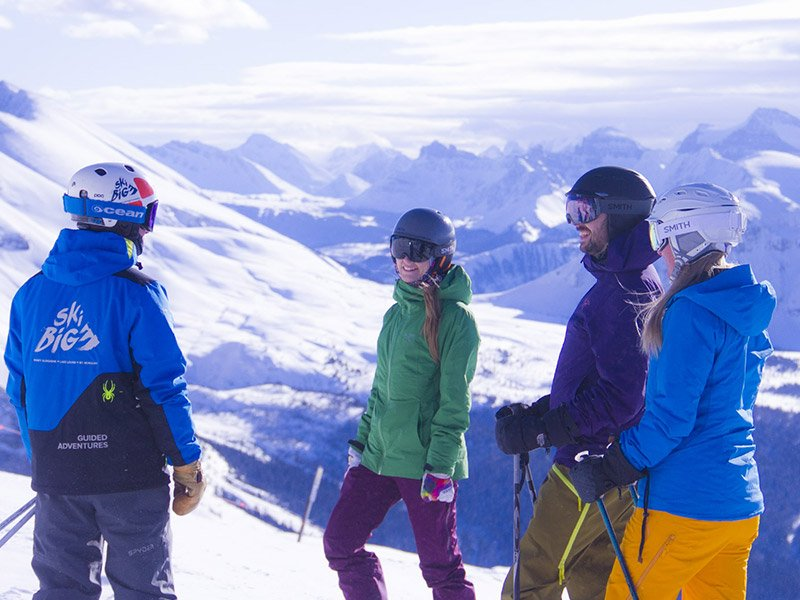 SkiBig3 Guided Adventure group at Banff Sunshine Village, Banff National Park.