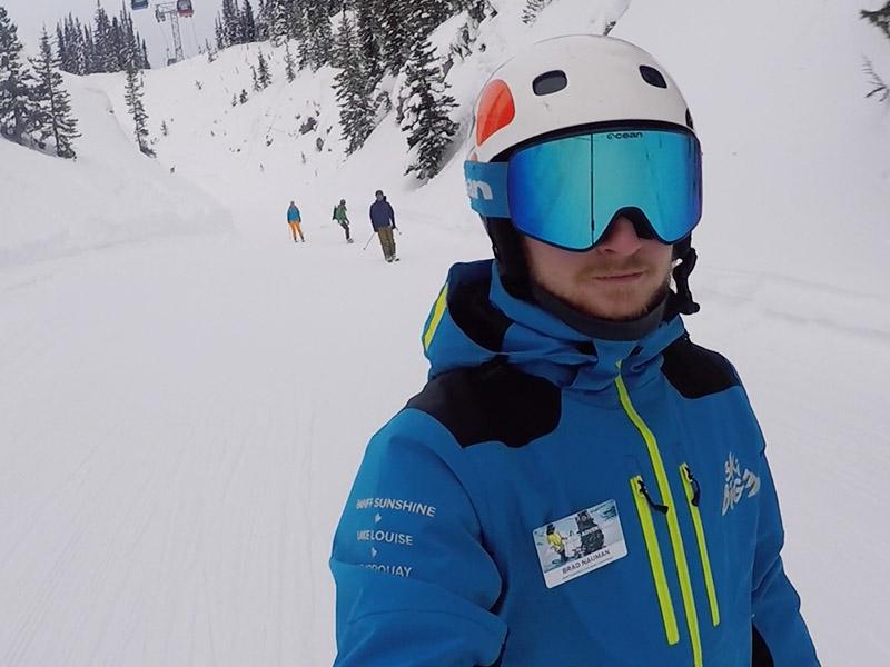 Ski Guide Brad Nauman leads a bunch of skiers through Upper Canyon at Sunshine Village.