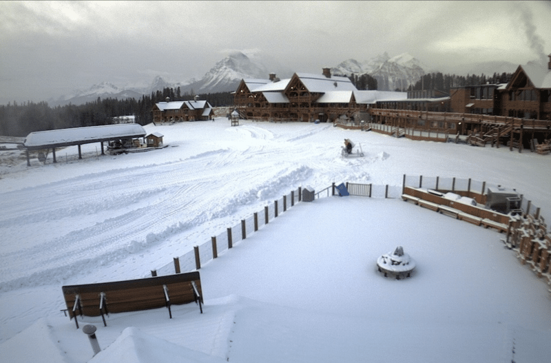 Web cam shot of Lake Louise Ski Resort base, BanffNational Park.