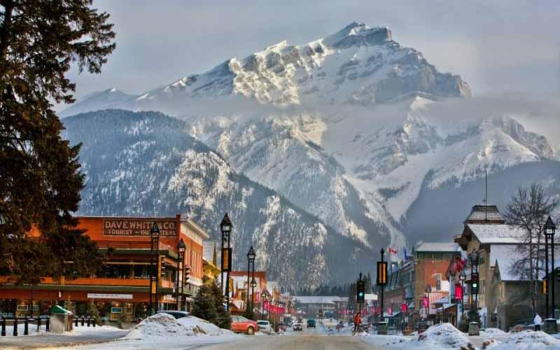 Banff Avenue in Winter, Banff National Park, Canada.