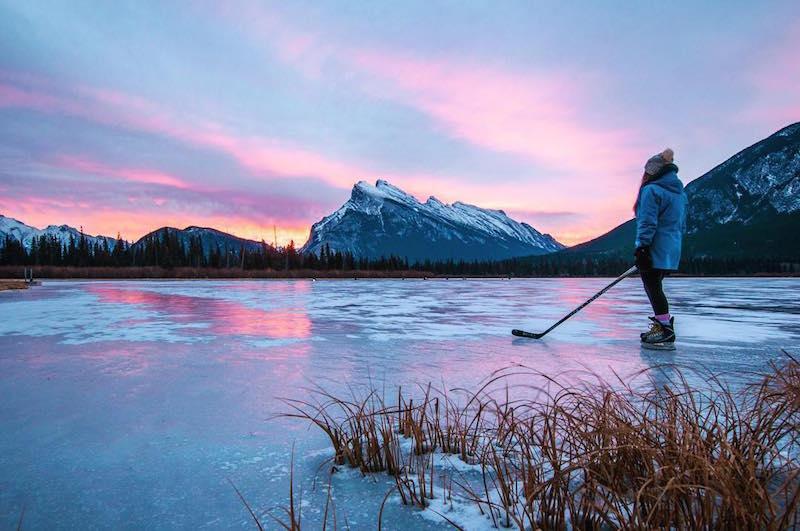 Sunrise skate at Vermillion Lakes.