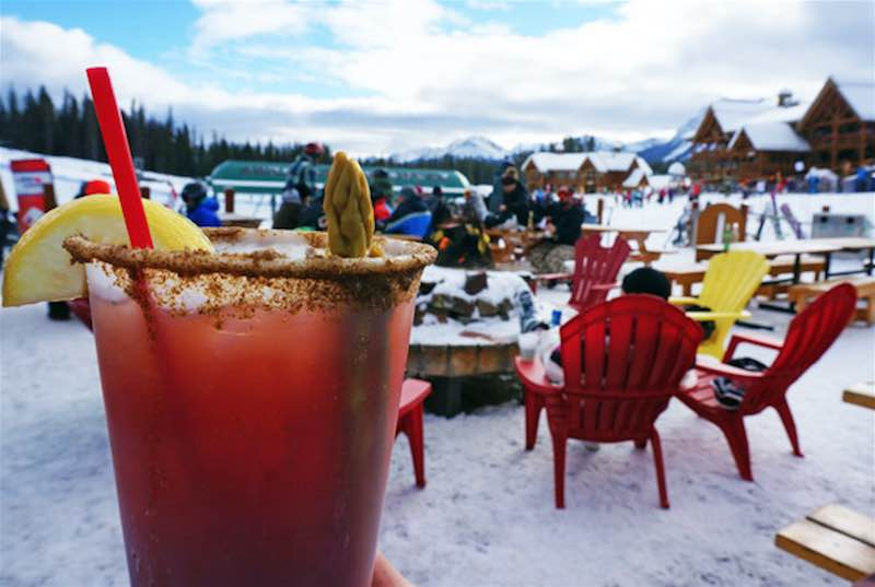 Ski Louise Caesar at the Powder Keg lounge at Lake Louise Ski Resort, Banff National Park.