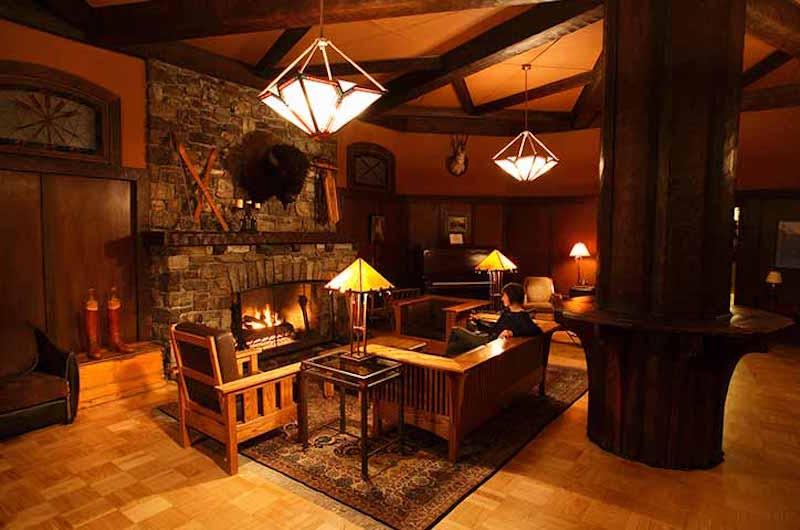Interior shot of Deer Lodge, Lake Louise, Banff National Park.
