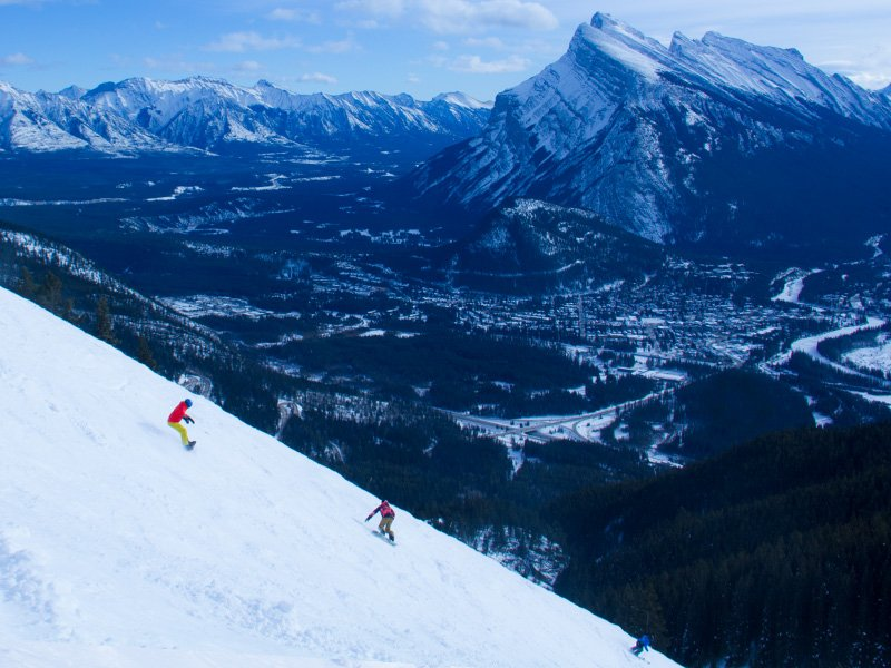 Snowboarders at Mt. Norquay