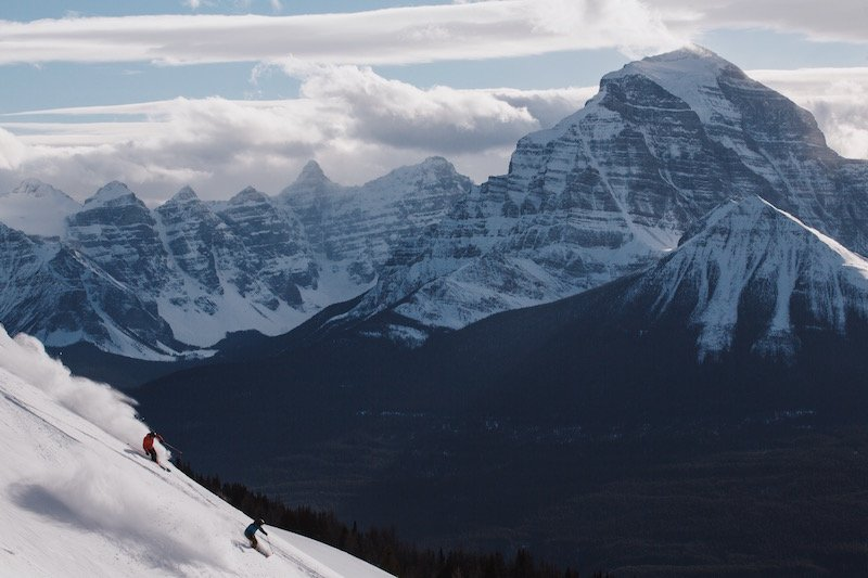 Skiers at Lake Louise Ski Resort, Banff National Park. Photo by Jake Dyson.