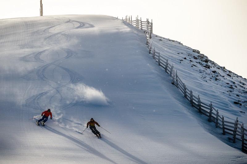 Skiers at Lake Louise Ski Resort, Banff National Park.