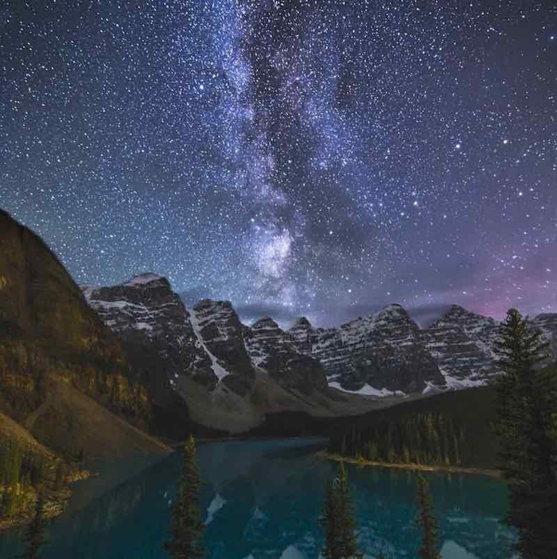 Starry night at Moraine Lake, Banff National Park. Photo by Tyler Parker.