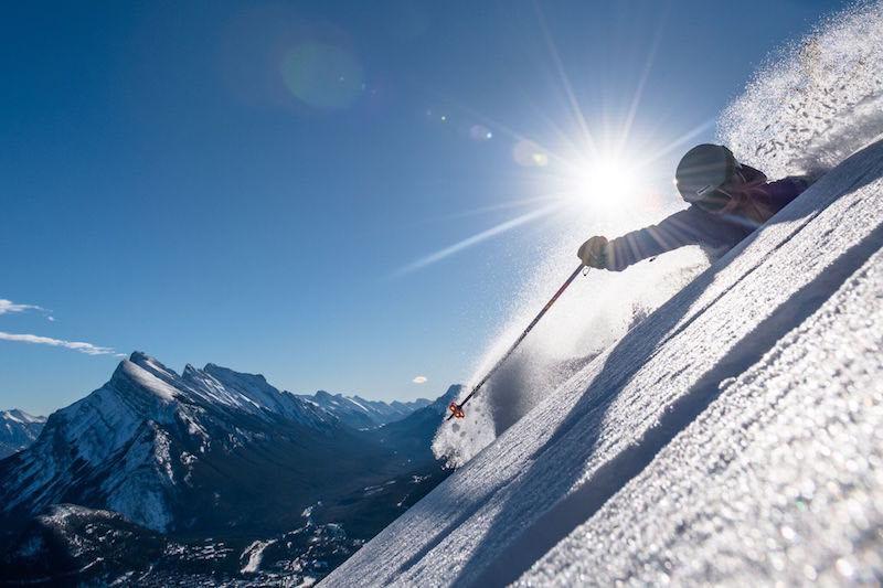 Skier in deep powder at Mt. Norquay