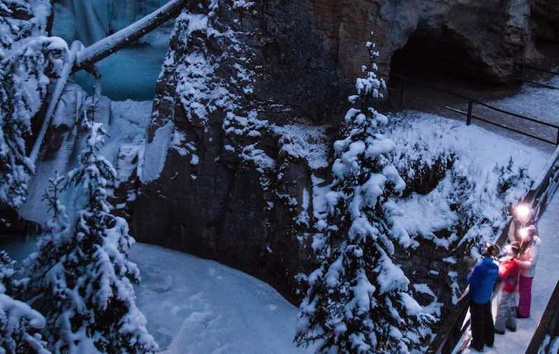 Johnson Canyon night walk with Discover Banff Tours, Banff National Park.