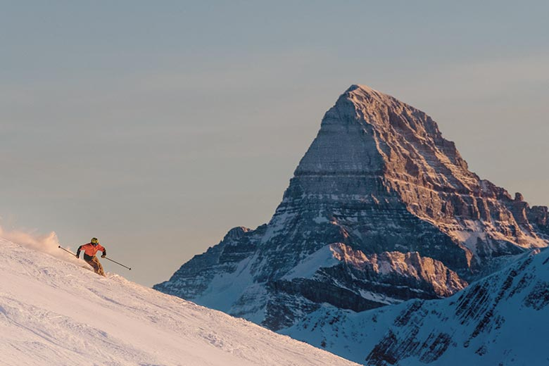 Sunshine Village with an exaggerated Mt. Assiniboine in the background.