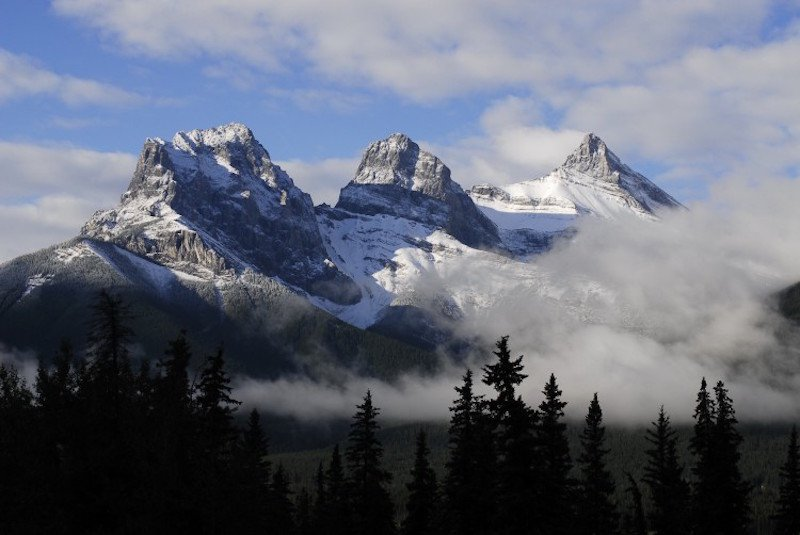 Three Sisters mountains near Canmore, Alberta, Canada.