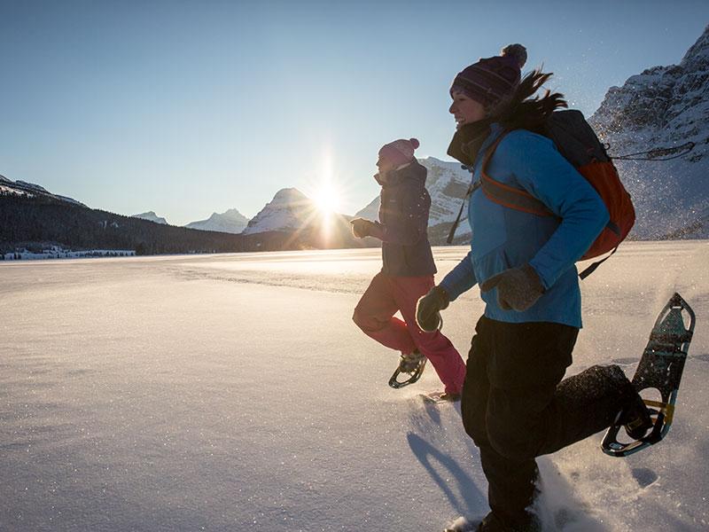 Snowshoeing at Bow Lake