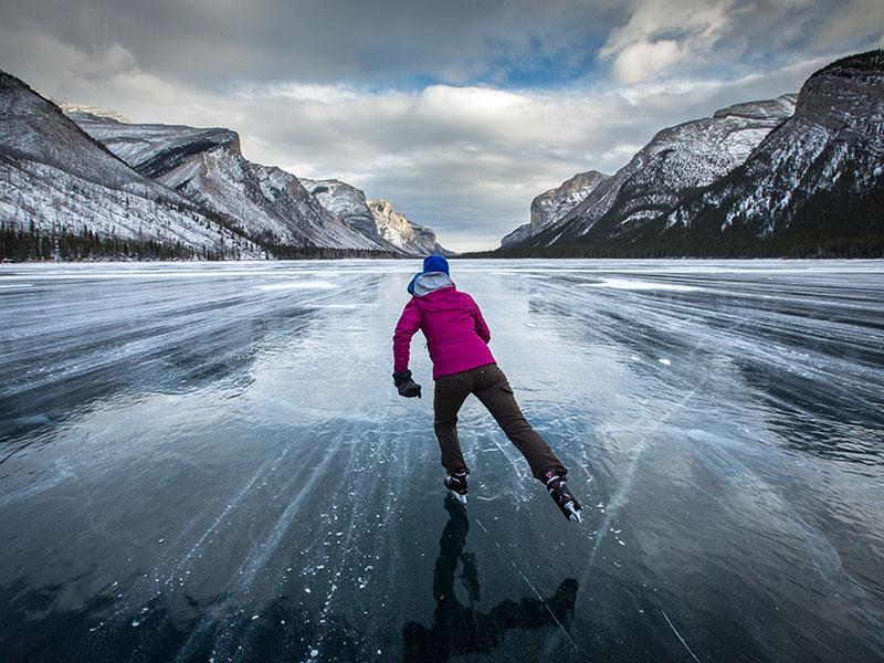 Ice Skating on Lake Minnewanka