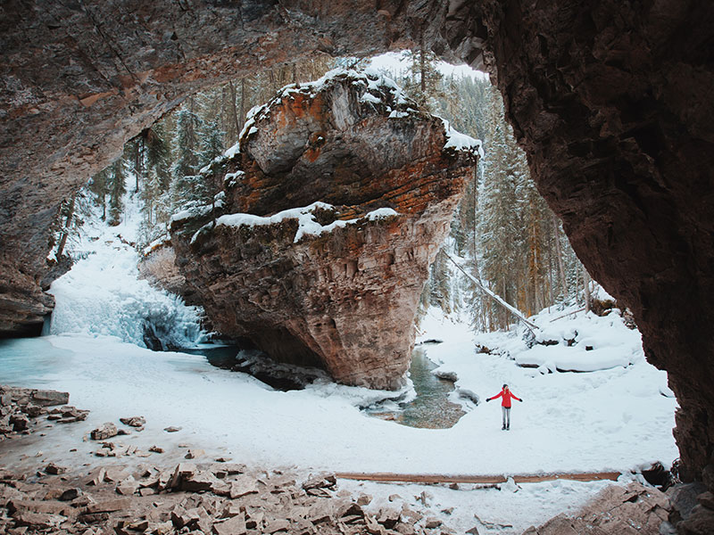 Hiking at Johnston Canyon