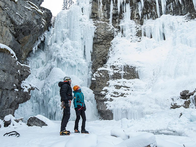 Ice Climbing at Johnston Canyon. Photo courtesy of Banff & Lake Louise Tourism / Noel Hendrickson