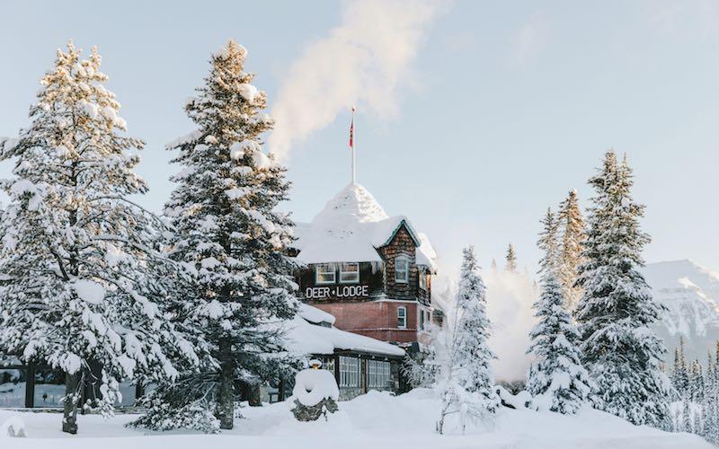Winter exterior shot of Deer Lodge in Banff National Park.