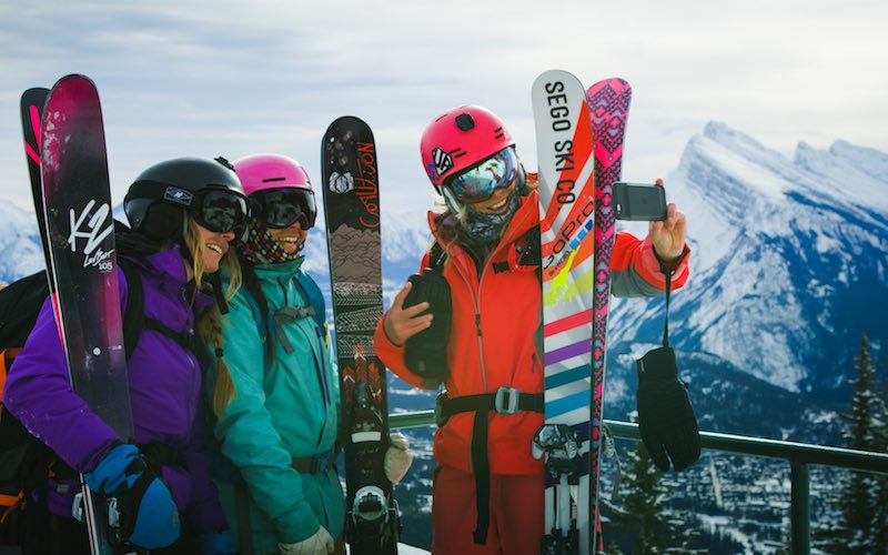 Alex Armstrong, Michelle Brazier, and Lyndsey Dyer take a selfie at Mt. Norquay.