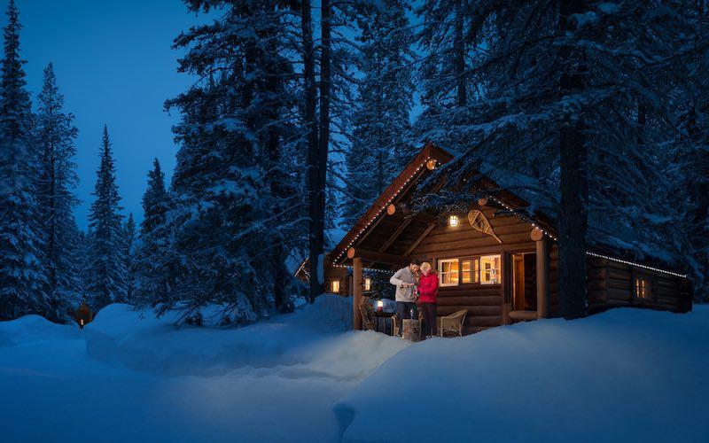 Winter exterior shot of Storm Mountain Lodge, Banff National Park.