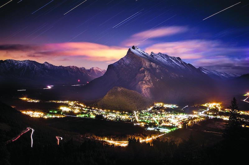 Nighttime shot of Banff townsite and Mount Rundle, Banff National Park.