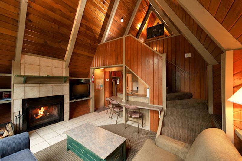 Interior shot of 2-bedroom A-frame Chalet at Douglas Fir Resort, Banff National Park.