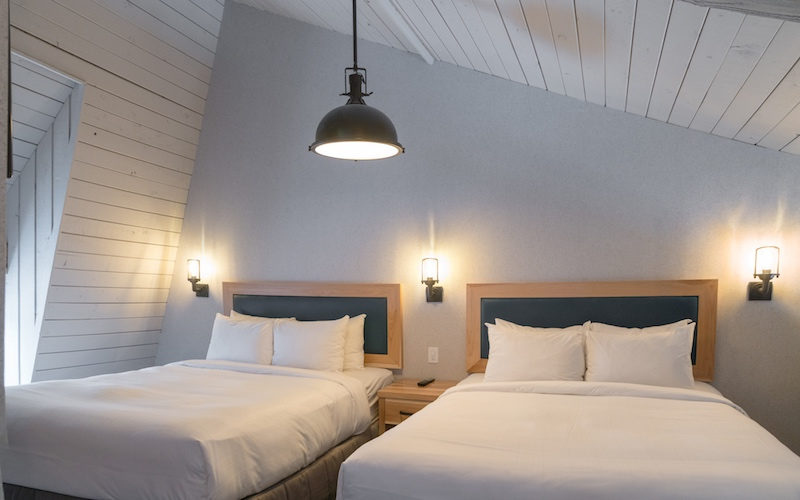 Interior shot of Mountain Cabin loft at Tunnel Mountain Resort, Banff, Alberta.
