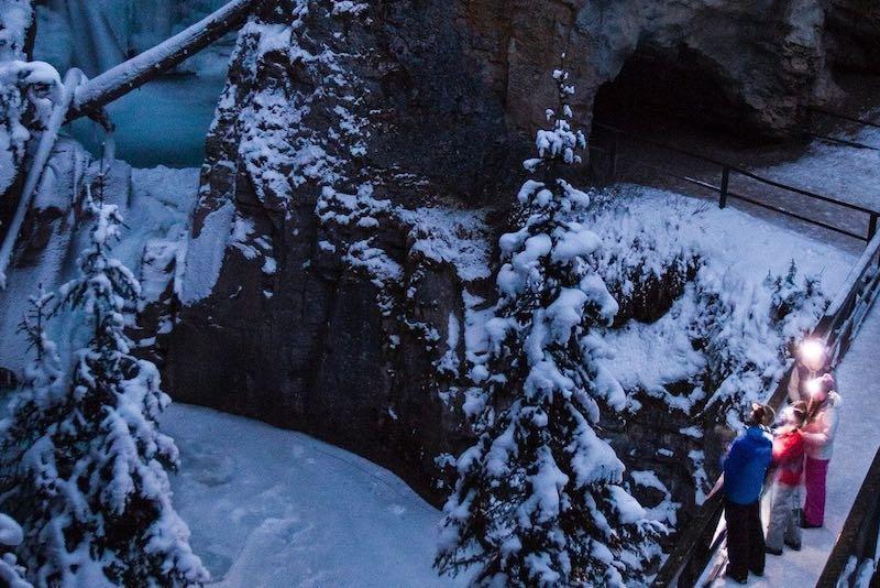 Evening ice walk at Johnston Canyon, Banff National Park.