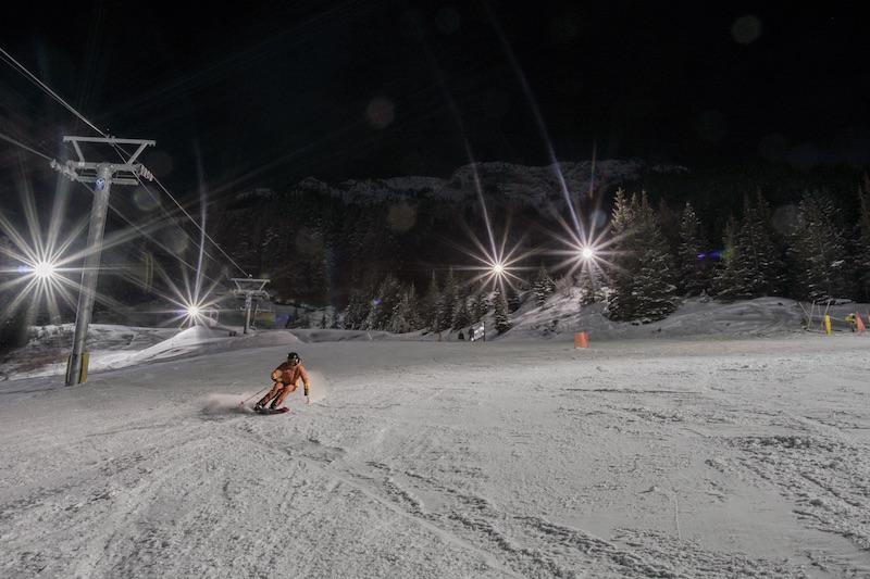 Renee McCurdy night skiing at Mt. Norquay. Photo by Daniel Thomson.