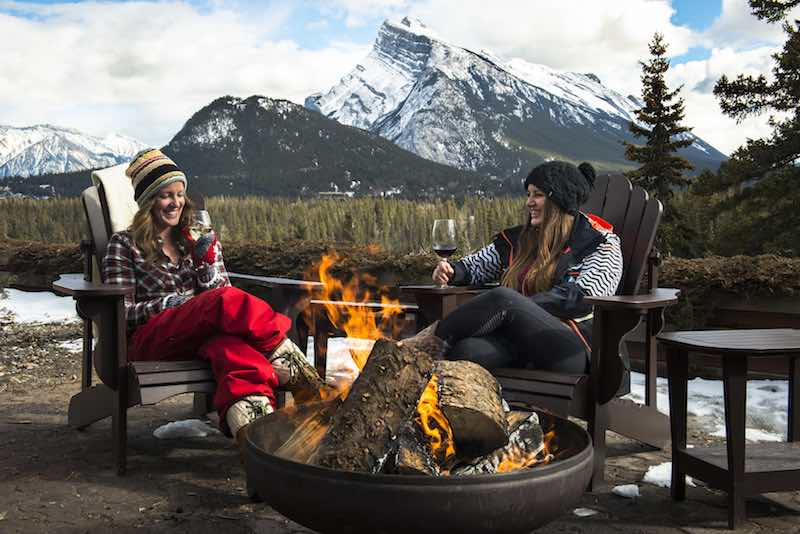 Outdoor firepit at the Juniper Hotel and Bistro in Banff National Park. Photo courtesy of the Juniper Hotel + Bistro.