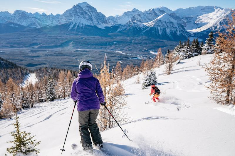 Renee McCurdy skiing at Lake Louise Ski Resort in Banff National Park. Photo by Travis Rousseau.