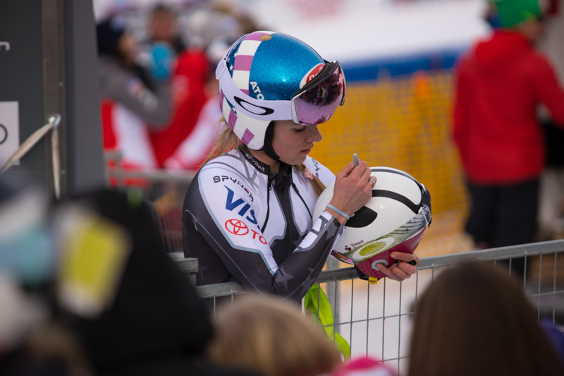 Ski racer athlete at Lake Louise World Cup Women's Downhill.