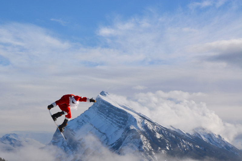 Santa shredding at Mt. Norquay. Photo by Luke Sudermann.