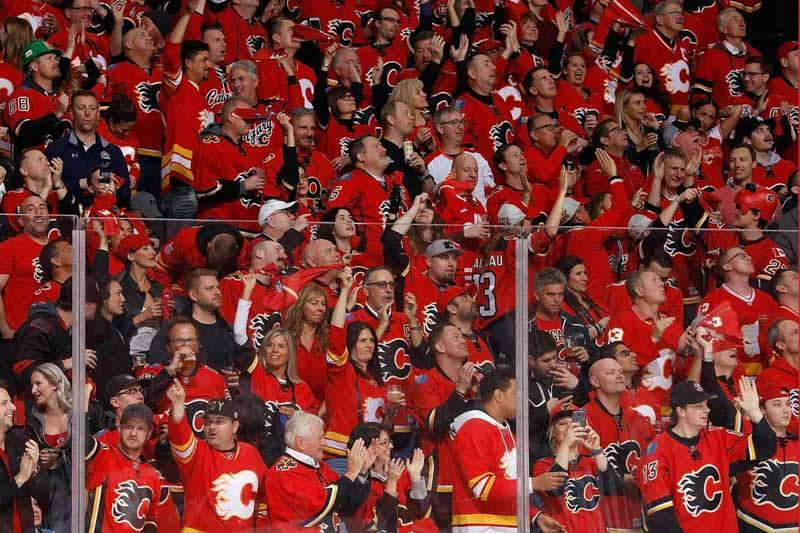 Sea of red at Calgary Flames home game in Calgary, Alberta, Canada.