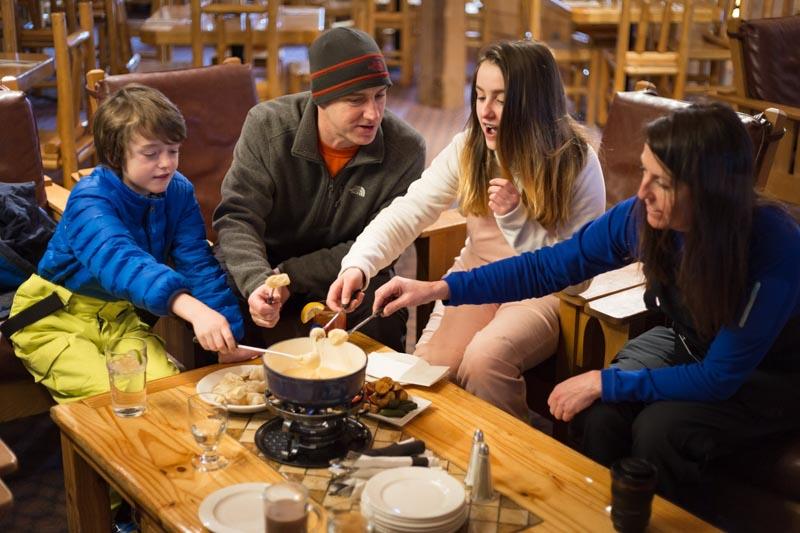 Fondue at Sawyer's Nook, Temple Lodge, Lake Louise Ski Resort, Banff National Park.
