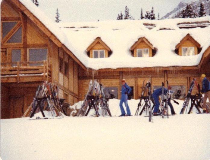 Historic photo of Temple Lodge at Lake Louise Ski Resort.
