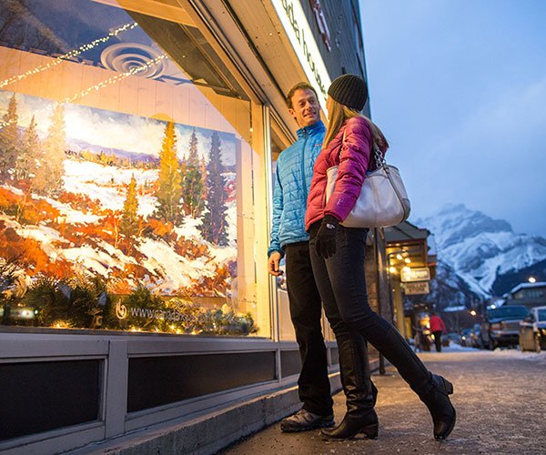 Window shopping in Banff, Banff National Park.