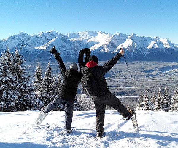 Snowshoeing at Lake Louise, Banff National Park.