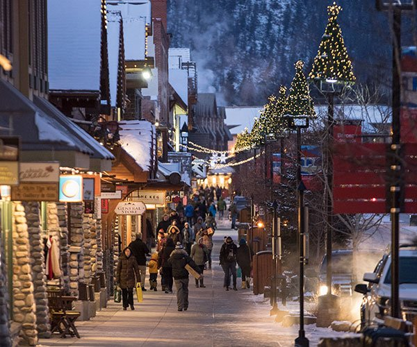 Christmas Shopping on Banff Ave, Banff National Park.