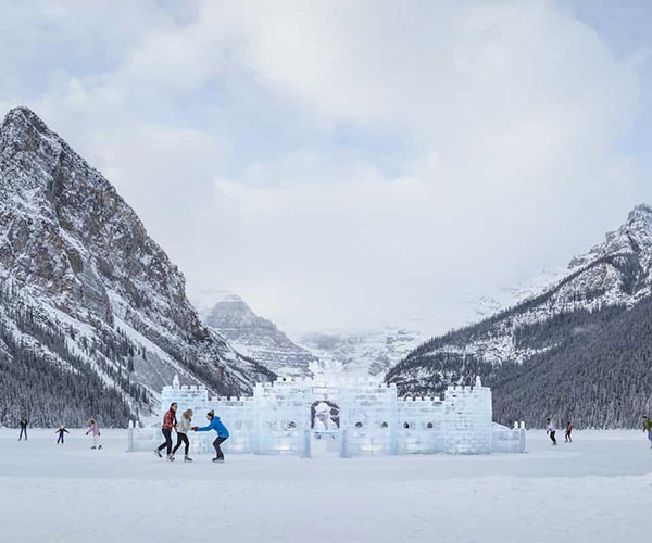 Ice Skating at Ice Magic Festival at Lake Louise
