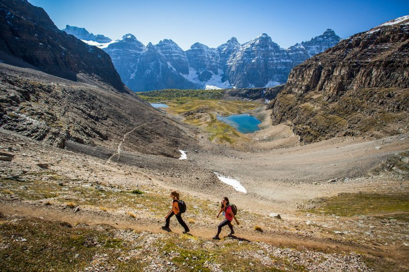 HIkers at Sentinel Pass Larch Valley in Banff National Park