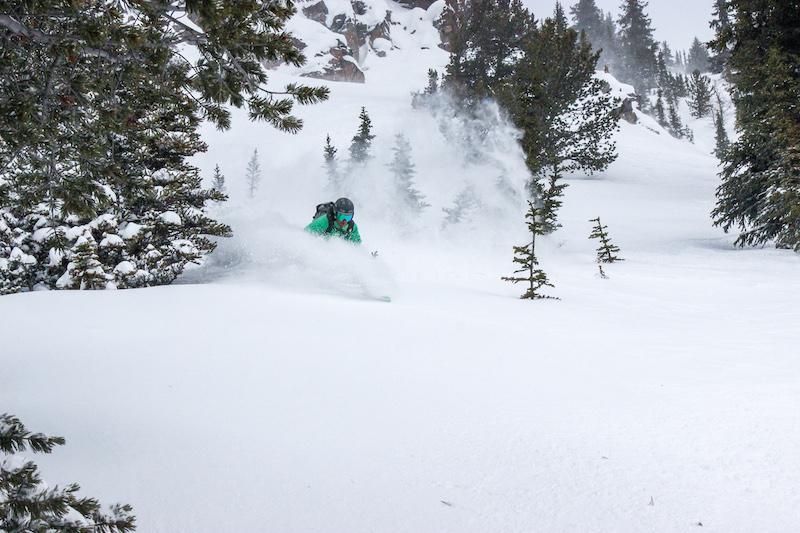 Skier in West Bowl at Lake Louise Ski Resort, Banff National Park.